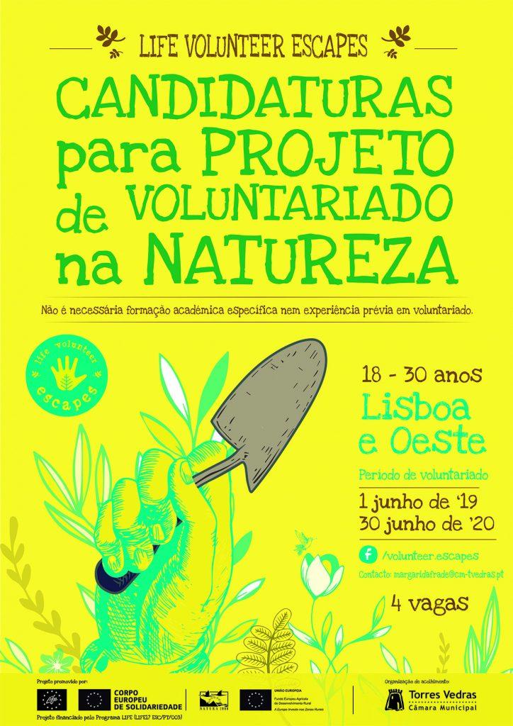 Cartaz das candidaturas para projeto voluntariado - life volunteer