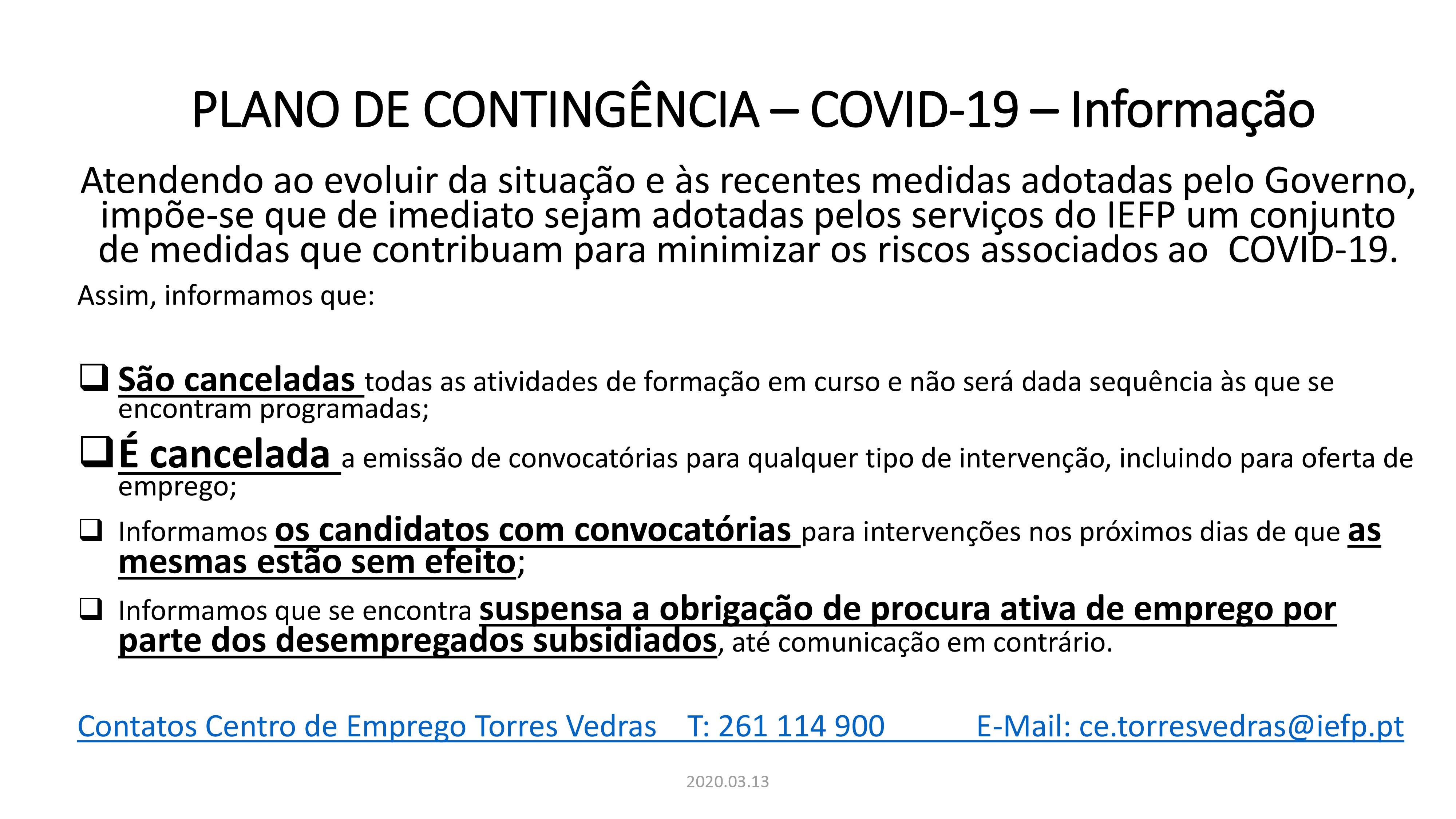 PLANO DE CONTINGÊNCIA – COVID-19 - Informação