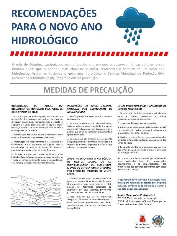 RECOMENDAÇÕES PARA O NOVO ANO HIDROLÓGICO